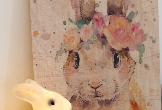 Posterlounge - Cadre bois - Petit lapin